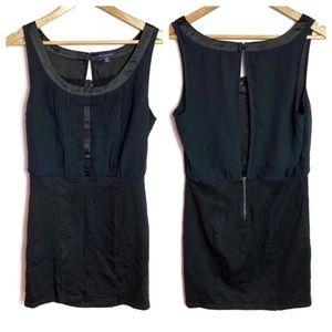 AEO Sleeveless Black Satin Pleated Mini Dress